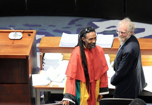 Rastafarian lawyer Garreth Prince with Dagga Party founder Jeremy Acton in the Court